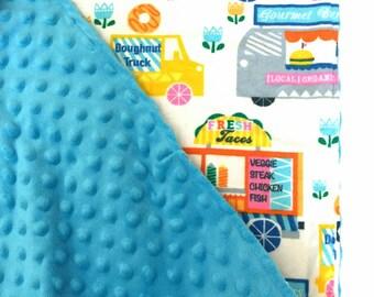 Austin Texas style food truck minky lined blanket