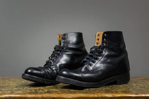 Black Leather Slim Combat Boots // Men's Motorcycle Boots