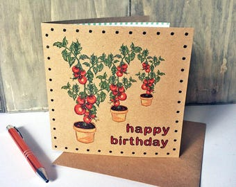 Gardening Birthday Card with Tomato Plants, vegetable illustrated card ideal for grandad, dad, friend, mum. Recycled square brown card UK
