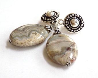 Clip on Dangle Earrings, Gemstone Earrings, Comfortable Clip on Earrings, Silver Earrings, Agate Jewelry for Women, Handcrafted Jewelry