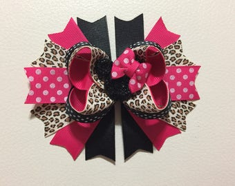 Shoocking Pink and Leopard Minnie Mouse Stacked Hair Bow ,Minnie Mouse Boutique Bow , Minnie Mouse Hair Bow ,Girl Hair Bow