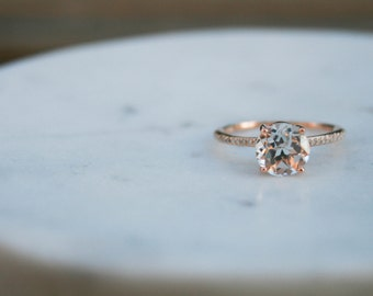 Round White Topaz Diamond, Engagement Ring, White Topaz Wedding Diamond, Rose Gold, Diamond