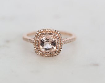 Diamond Halo Rose Gold Morganite Engagement Ring, Rose Gold Morganite Ring, Diamond Halo around Morganite, Halo Engagement Ring, Double Halo