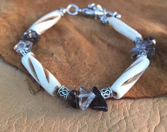 Handmade Men's Genuine Smokey Quartz Gemstone Carved Bovine Bone Native American Inspired Bracelet Jewelry, bone bracelet quartz bracelet