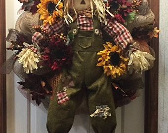 Happy Thanksgiving Wreath, Scarecrow Wreath, Thanksgiving Decor, Fall Decor, Fall Wreath
