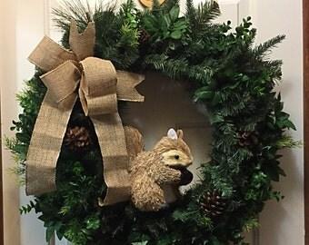 Rustic Front Door Wreath, Rustic Front Door Decor, Country Pine Wreath, Squirrel Wreath, Squirrel Decor, Front Door Decor, Door Decor