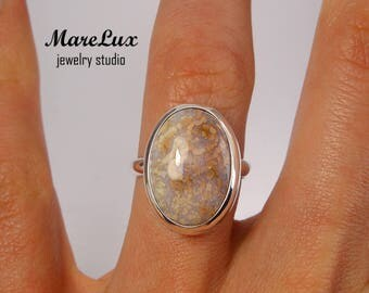 Genuine Milk Agate White and Brown Cabochon Ring, Silver Oval Stone Ring, Milk Agate Gold or Gold Plated Ring, Sterling Milk Agate Ring