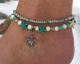Beach Anklet, Ankle Bracelet, Turtle Anklet, Starfish Anklet, Nautical Anklet, Anklet, Beaded Anklet, Ankle Jewelry, Beach Jewelry