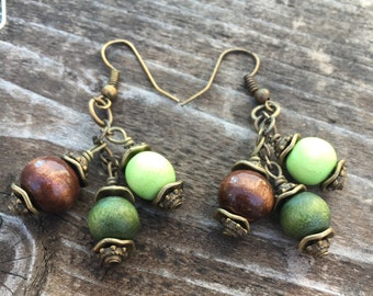 Boho Earrings, Hippie Earrings, Wood Earrings, Dangle Earrings, Cluster Earrings, Earrings