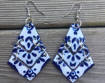 Talavera mexican pottery inspired shrink plastic tier dangle earrings handmade lightweight mosaic blue white