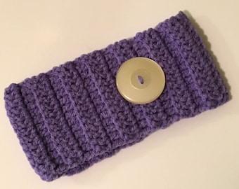 Crochet HeadBand/Ear Warmer - Button