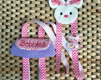 Hair clip organiser, clippie keeper, hair bobble storage, personalised clippie keeper, personalized bunny hair clip organiser with pouch