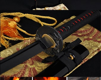 Handmade Blade Sword KATANA Carbon BLACK Steel Full Shapr Blade