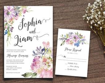 Purple Boho Chic Invite, Rustic Wedding Suite, Bohemian Invitation, Rustic RSVP Card, Invitation Printable, Wedding Invitation