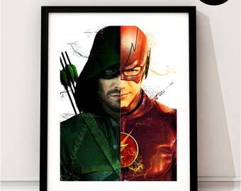 Green Arrow and The Flash Art Print, DC Inspired, Oliver queen, Barry Allen, Justice League, CW, stephen amell, TV Series, Grant Gustin