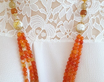 3-wire Orange agate necklace, necklace cozily, summer necklace