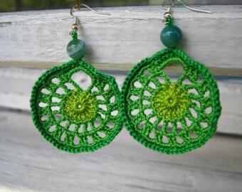 Hand crocheted earrings, Crochet jewelry