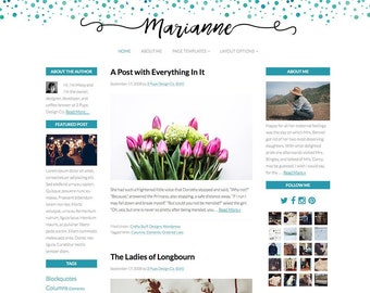 Turquoise Blue Watercolor Wordpress Template, Genesis Child Theme, Responsive Website Template