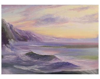Large Beach Painting, Coastal Landscape, Seascape Painting, Ocean Art, Beach, Seascape, Ocean Waves, Original Large Oil Painting on Canvas