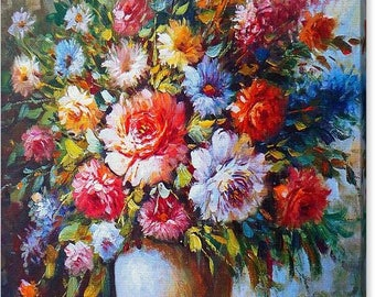 Still Life Colourful Flowers In Vase Canvas Art Print - Various Sizes To Choose From