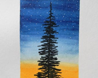 "Original watercolor painting - nature painting - ""Stand Tall"" - Pine tree - sunset - starry sky"