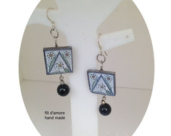 Earrings made of lava stone and hand-painted ceramics of Caltagirone