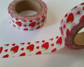 large and small strawberry on white Washi Tape