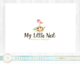 Bird Nest Logo, Photography Logo,Logo Design, Boutique Logo ,Watercolor Logo, Decor Logo Design ,Watermark, Childcare Logo
