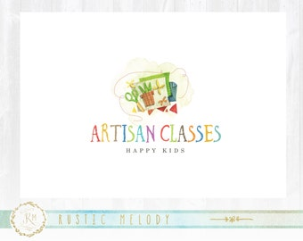 Sewing Logo,Art Logo Design, Kids Art Classes Logo , Paint Brush Logo, Artists Logo, Premade logo design, Stamp Logo,Art School Logo