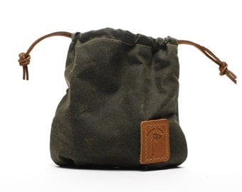 Waxed Canvas Golf Valuables Field Pouch in Olive Green personalized monogrammed