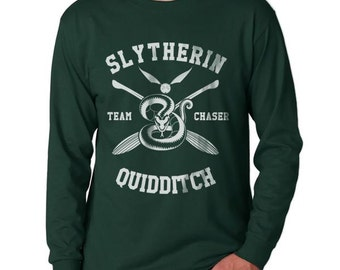 CHASER - Slyth Quidditch team Chaser on Longsleeve MEN tee Forest Green