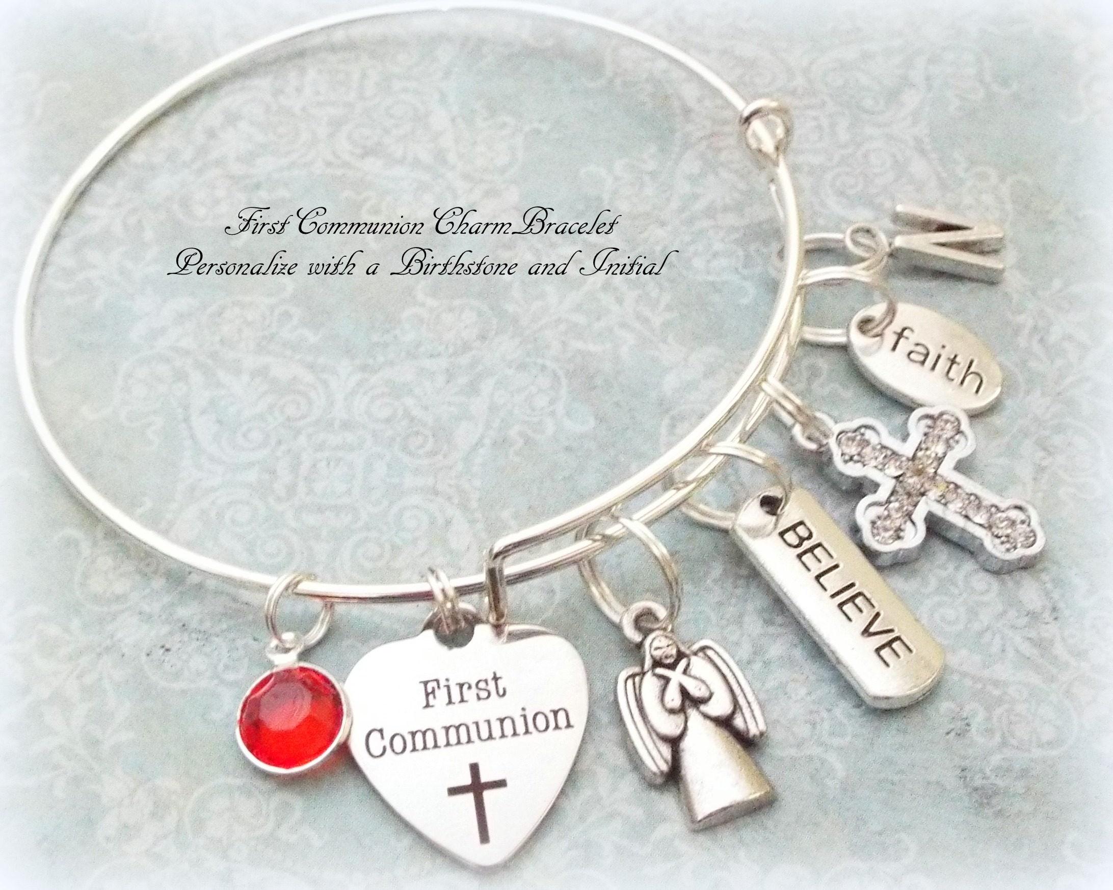 Gift For Goddaughter Birthstone Necklace Sterling By: First Communion Charm Bracelet, Goddaughter Gift