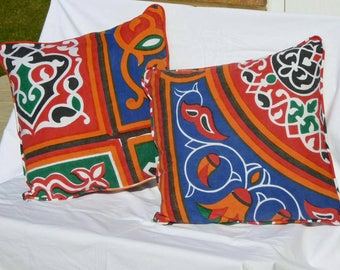 Pair of funky Egyptian Cotton Cushion Covers