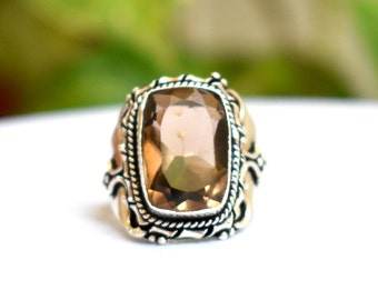 Size 9.75 - Smoky Quartz Ring - Sterling Silver Ring - Quartz Ring - Women Jewelry gift