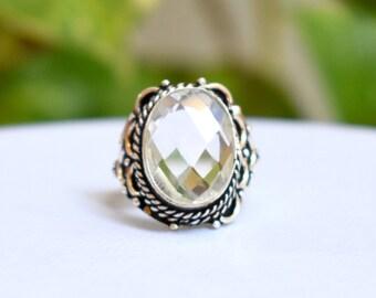 Size 7.5 - Crystal Quartz Ring - Sterling Silver Ring - Quartz Silver Ring - Christmas Gift