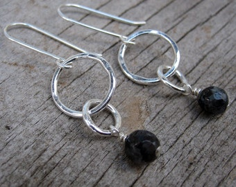Faceted larvikite and silver dangle earrings // ready to ship