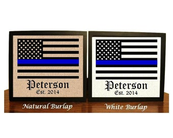 Police Officer Sign, Thin Blue Line Decor, Police Wife, Police Family, American Flag Wall Art, LEO Wife, Police Officer Gifts, Police Flag