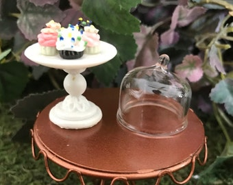 Miniature Cupcakes on Pedestal with Dome Lid