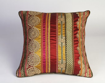 Bespoke Rajasthan Gold Lace with Multi-Coloured Braids Cushion