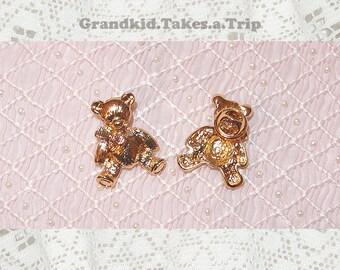 Tiny Golden Teddy Bear with Bow Pin