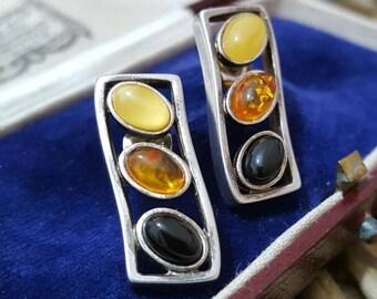 Vintage 925 sterling silver stud earrings, genuine tested amber in 3 shades
