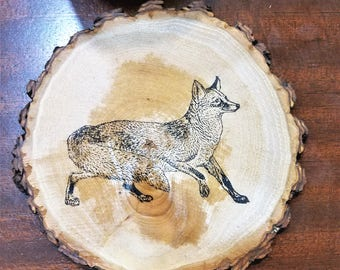 Fox Rustic Natural Wood Slice Coasters Set of 2