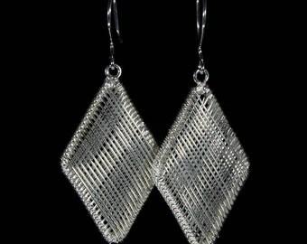 Silver earrings  woven, diamond shape, geometric jewelry for her.