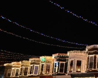 34th Street Rowhomes and Lights Photo Coaster