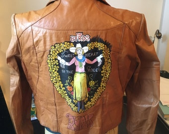 """Hand-painted Byrds """"Sweetheart of the Rodeo"""" leather jacket"""