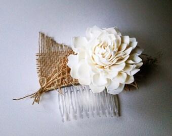 Wedding Hair Comb sola flower hair comb brown burlap Hair flowers hair comb dried flower garden wedding bridal headpiece hair accessories