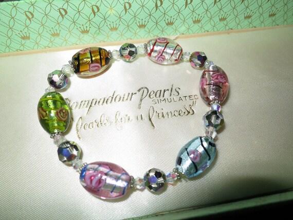 Lovely vintage foiled pastel coloured glass bracelet