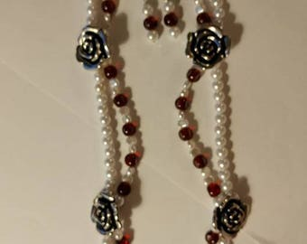 Big Silver roses with perals and red beads with earrings