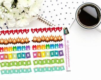 Planner Stickers| Weekend Banner Stickers| Fun Weekend Stickers| For use in a variety of planners and journals|WB002