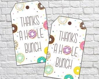 Donut Favor Tags, Donut Birthday, Thank you tags, Doughnut Birthday, Donut Favour tags, Donut party, Thanks A hole bunch PRINTABLE DIY